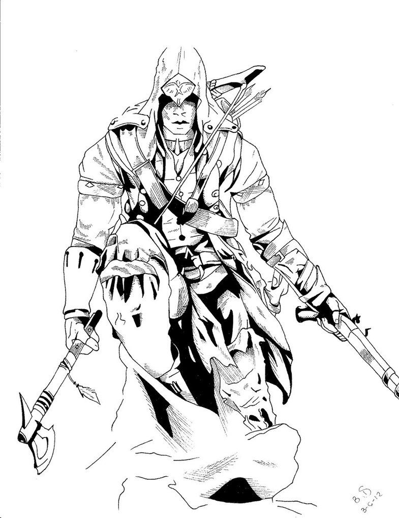 assassins creed 3 inked by whitekidz d4s1hjt coloriage