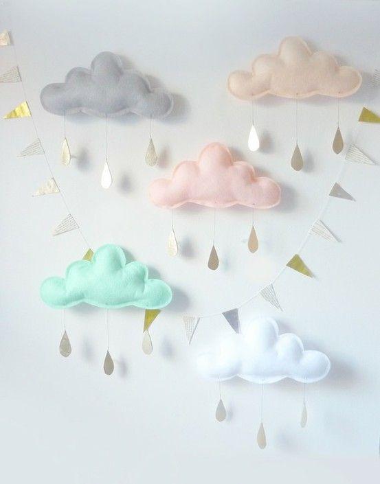 Облака из ваты для открытки