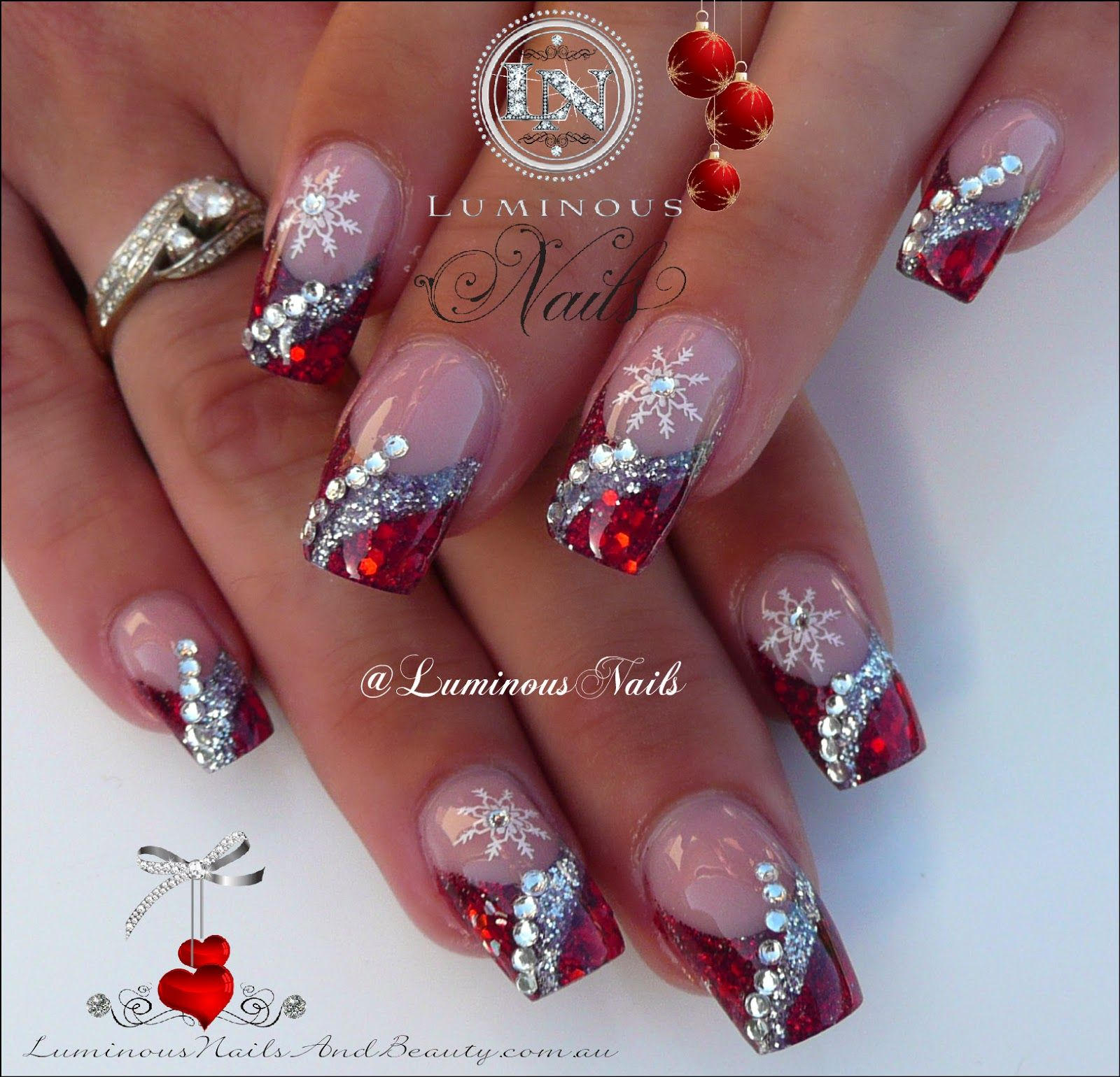 Christmas Designs For Acrylic Nails: Luminous Nails: Red & Silver Acrylic Christmas Nails