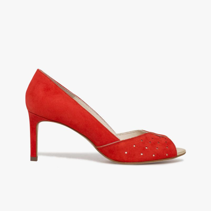 a7361294986111 Escarpin bout ouvert rouge en cuir velours Cet escarpin offre une ligne  élégante et charmeuse grâce
