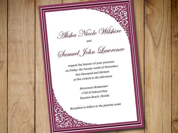 Printable Wedding Invitation Template Download - Raspberry Wine