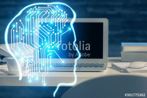 Double exposure of table with computer and brain hologram Data innovation concept