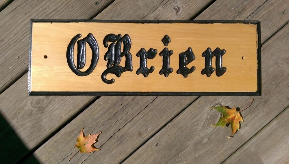 Obrien Pine Wood Name Router E Sign Hanging Indoors Or Out 1912