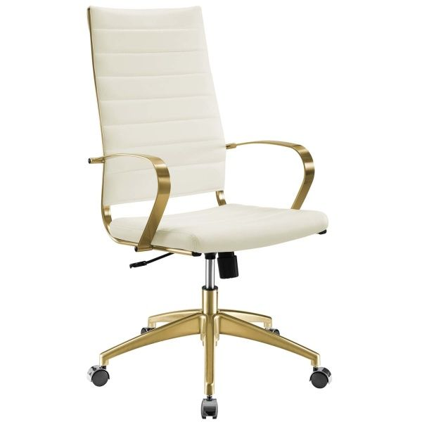 Modway Jive Gold Stainless Steel, White And Gold Office Chair High Back