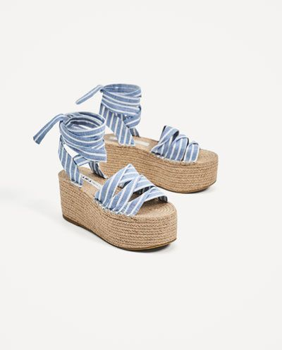 248c59d41a003b Image 6 of TIED JUTE PLATFORM WEDGES from Zara