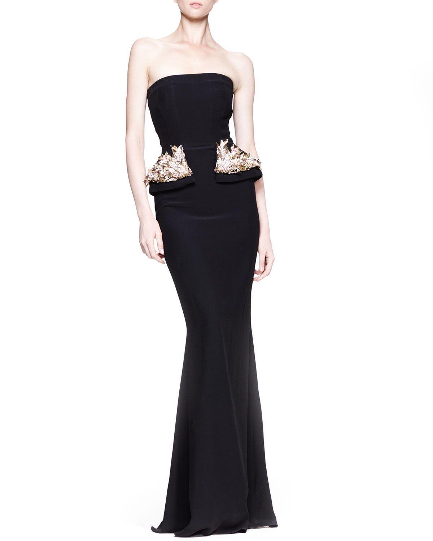 Alexander McQueen Strapless Gown with Beaded Peplum, Black - Neiman ...