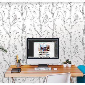 NuWallpaper 30sq ft Grey Vinyl Floral Peel And Stick