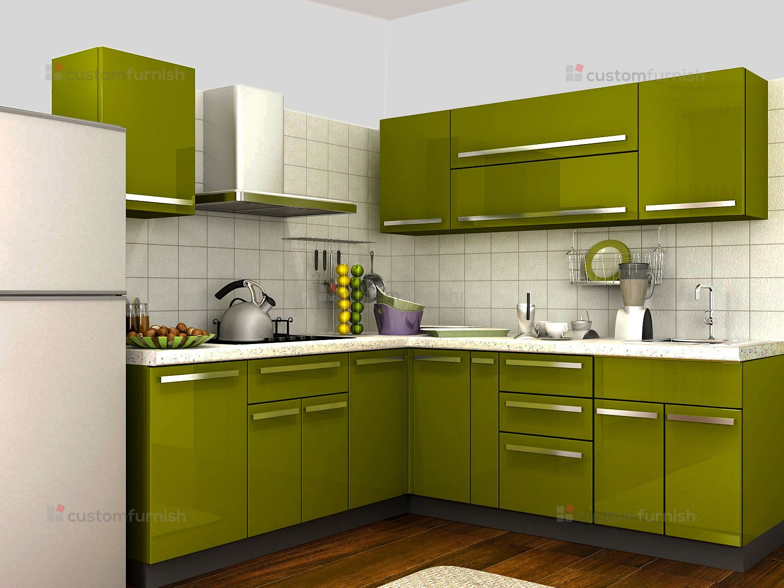 Kitchen Designing Online Customfurnish L Shaped Green Kitchen  Modular Kitchen