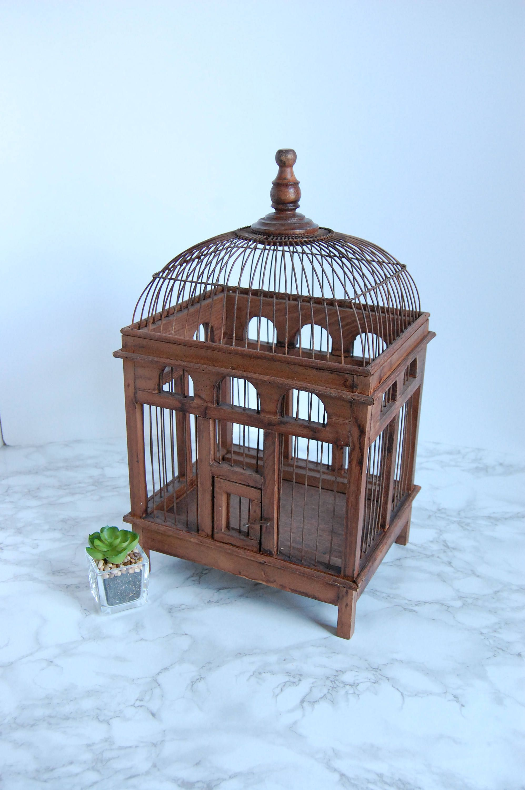 Vinatge Wire and Wood Bird Cage Birdcage - Antique Birdcage