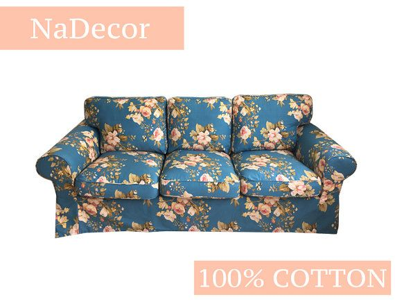 NaDecor - IKEA EKTORP 3 seater sofa 218cm slip cover Floral flowers pattern 100% COTTON (Cover only)