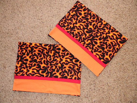 Set of Two Black Orange and Red Flame Standard by sproutbean, $16.00