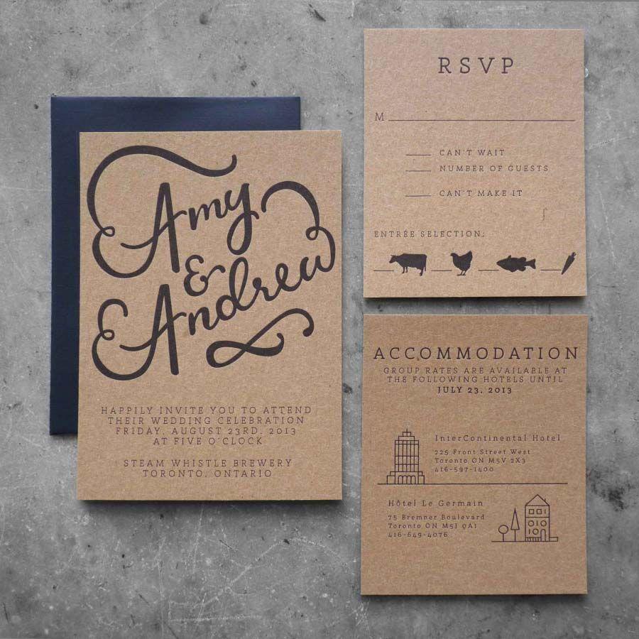 Elegant Letterpress Wedding Invitation | Wedding ... |Inexpensive Wedding Invitations Letterpress