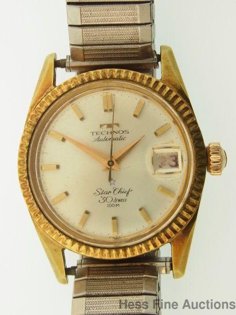 Scarce Technos Star Chief 30J Red Date Calendar Vintage Mens Wrist Watch to Fix