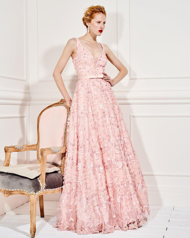 c84f0050c4e Βραδυνά Φορέματα / Βραδινό μακρύ φόρεμα από τούλι με απλικέ φλοράλ ...