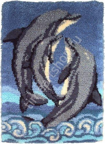 Семья дельфинов, ковровая вышивка (ковроплетение), набор ...