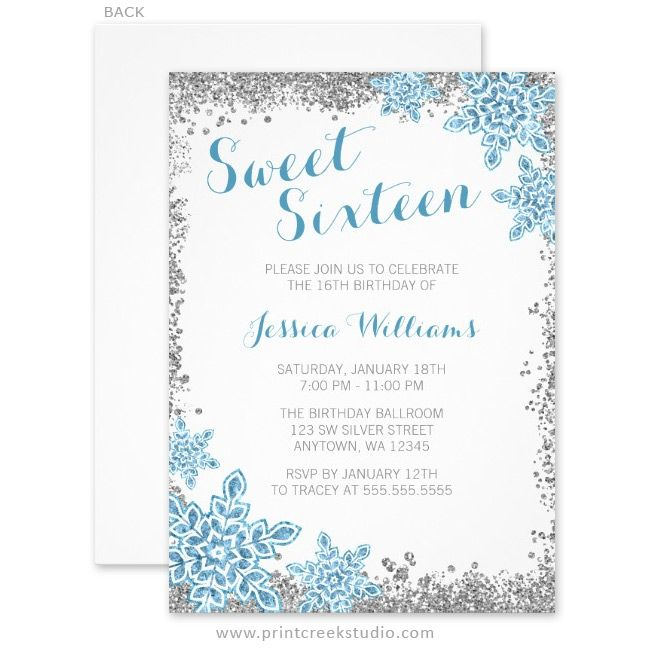 Sweet 16 glam winter wonderland silver blue invitations winter modern sweet 16 winter wonderland birthday party invitations featuring silver glitter border and blue snowflakes filmwisefo