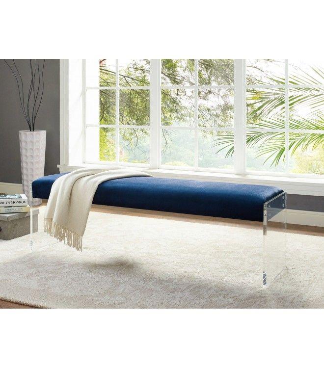acrylic bedroom furniture. Blue Velvet Bench Flat Acrylic Legs Bedroom Furniture