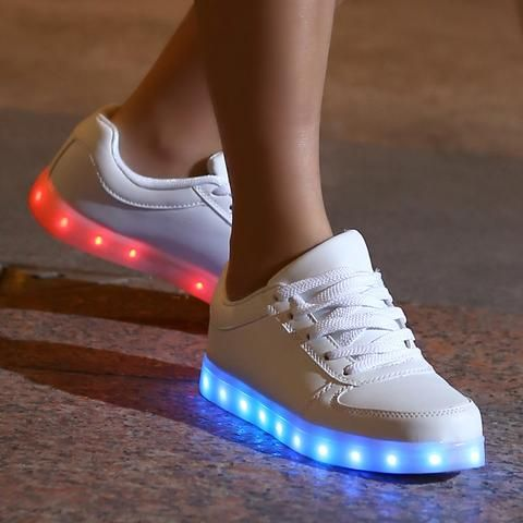 POPULAR LED Luminous Unisex Lace Up USB Charging Fashion Sneakers Black or White - Loluxe - 1