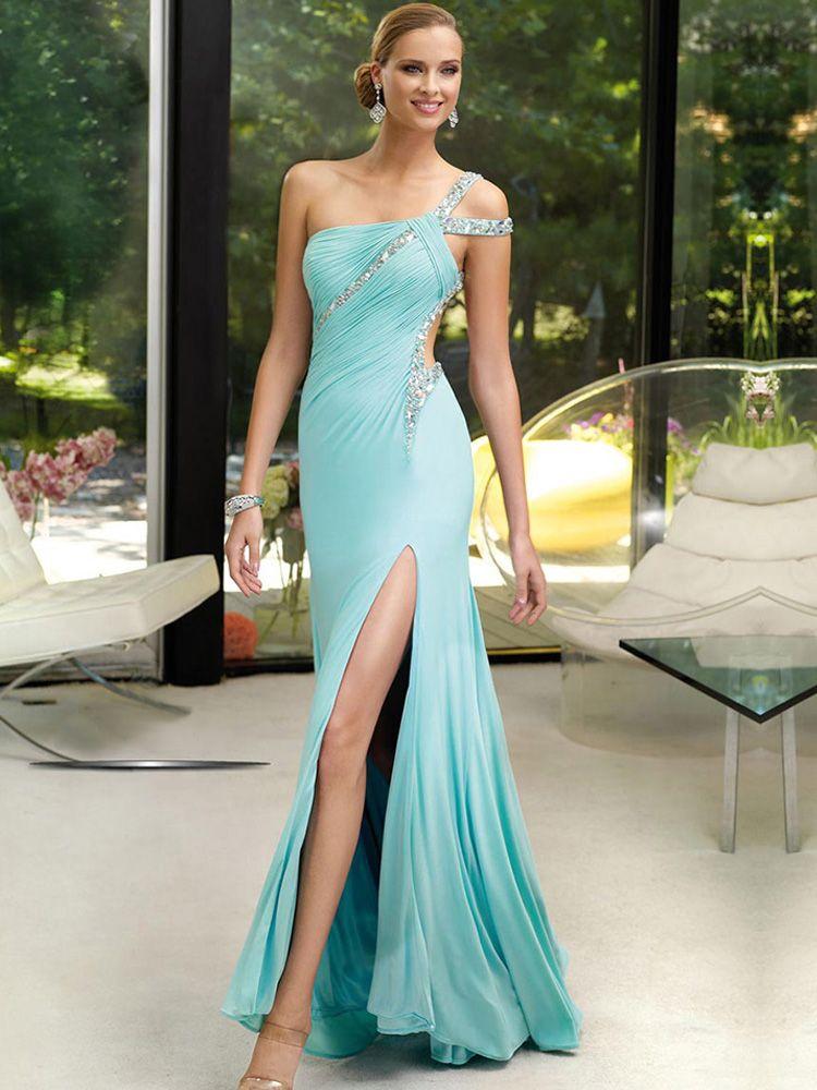 one shoulder column sheath chiffon floor length dress