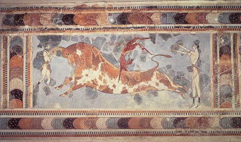 Fresco juego del salto del toro. Palacio de Cnosos.