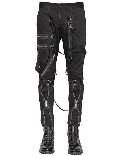dbd311a303df3 DSQUARED2 15Cm Parachute Multi Zip Stretch Jeans, Black. #dsquared2 #cloth  #jeans