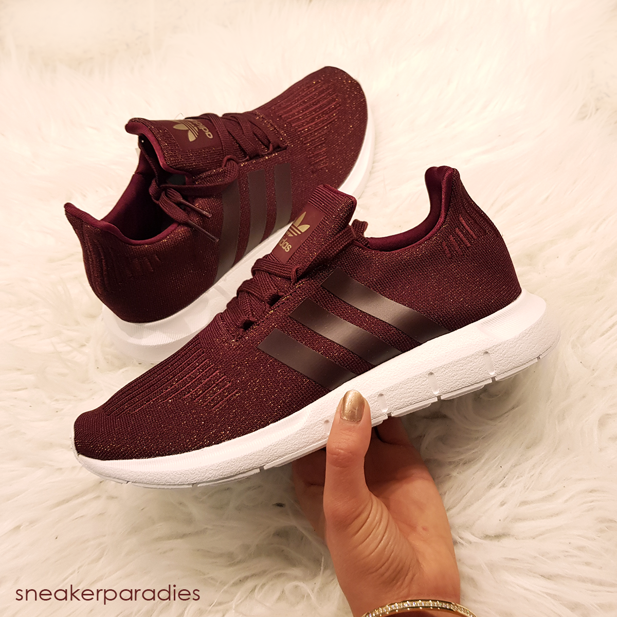 ADIDAS ORIGINALS SWIFT RUN SNEAKER LOW MAROON/FOOTWEAR WHITE