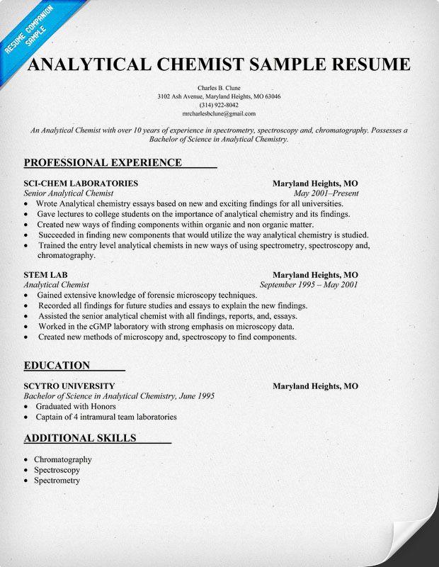 Analytical Chemist Resume Resume Analytical Chemist Student Resume