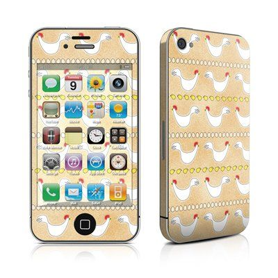 Chicken Scratch Design Protective Skin Decal Sticker for Apple iPhone 4 / 4S 16GB 32GB 64GB