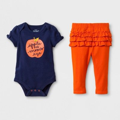 48b6026d5687 Baby Girls  2pc Short Sleeve Bodysuit and Ruffle Leggings Set - Cat ...