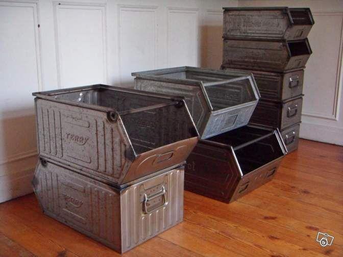 caisse industrielle casier usine m tallique ameublement paris vintage project. Black Bedroom Furniture Sets. Home Design Ideas