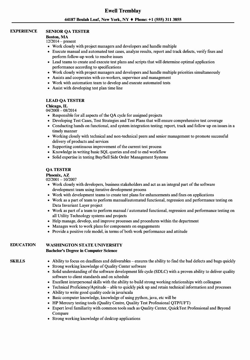 Manual Tester Resume 3 Years Experience Unique Qa Tester