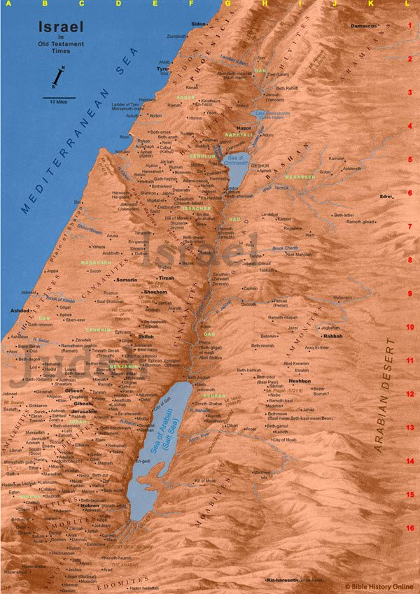 Large Map Of Old Testament Israel Time Of The Kings ASHKELON - Map of egypt old testament