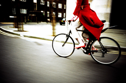 red + on a bike