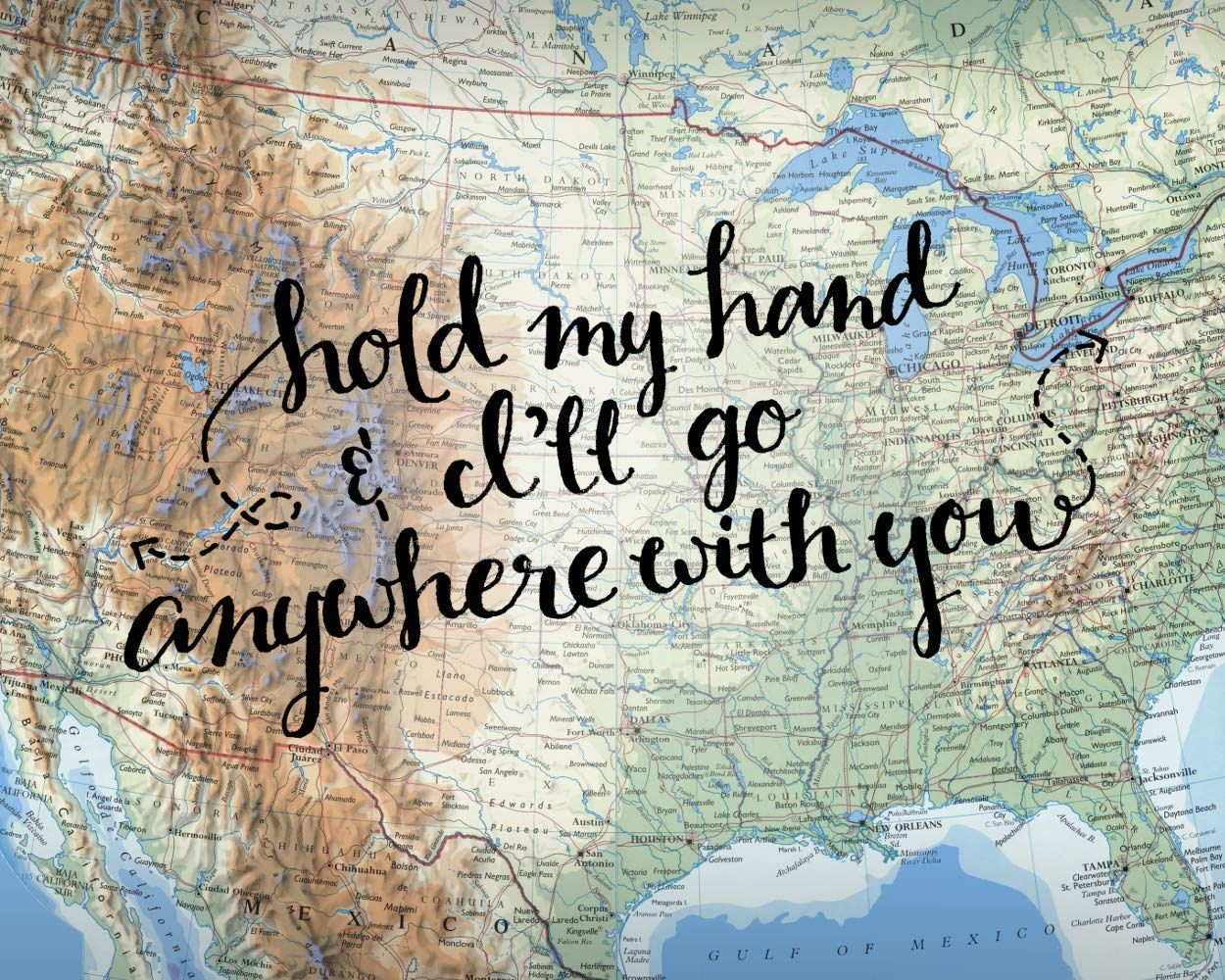 Cita de amor Mapa de EE. UU. Decoración de la pared Regalos de boda Obra de arte Sostén mi mano e iré a cualquier parte contigo 8 x 10 Lámina