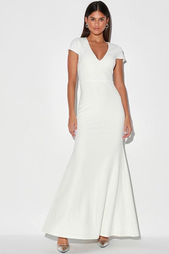 Always With Elegance White Cap Sleeve Mermaid Maxi Dress In 2020 Maxi Dress White Dresses For Women Dresses