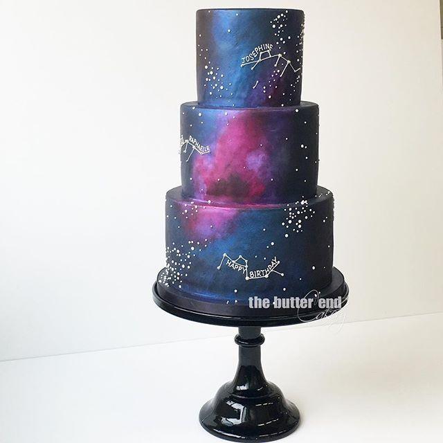 Resultado de imagem para bolo 15 anos tema galaxy com neon