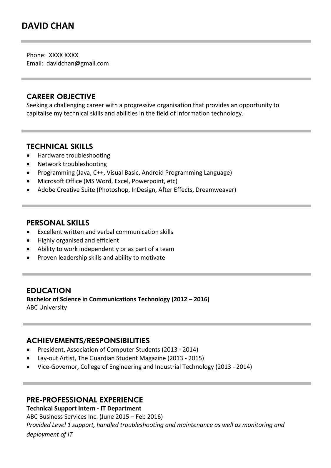 Resume Sample for Fresh Graduate Innovative Sample Resume