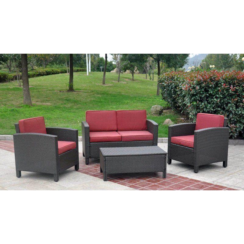 International Caravan Contempo Outdoor Wicker Resin Settee Patio Set Conversatio Resin Wicker Patio Furniture Patio Furniture Sets Wicker Patio Furniture Set