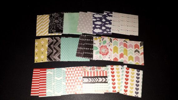 Large Set Shape and Tape Spring Set of 34 washi paper squares for your Erin Condren Life Planner or Filofax