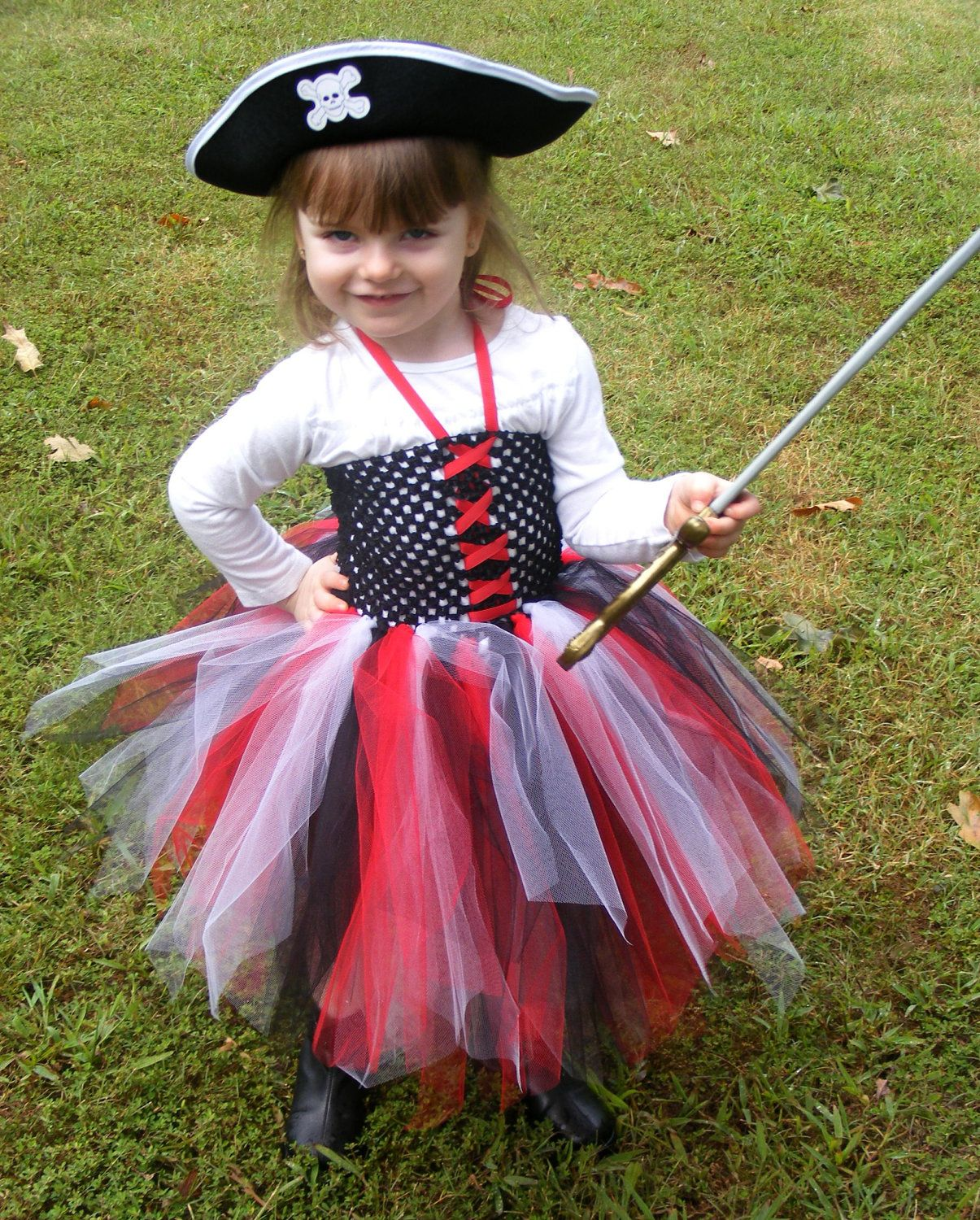 Pirate Tutu Halter Dress Costume-Includes Hat, via Etsy.  My in-laws are doing a pirate theme party
