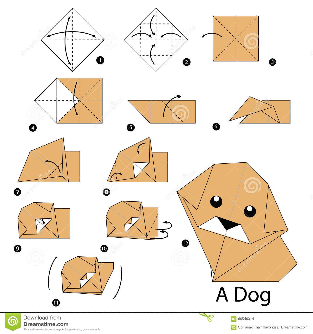 instructions tape par tape comment faire le chien d origami. Black Bedroom Furniture Sets. Home Design Ideas