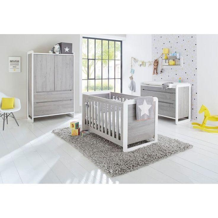 Chambre bébé Curve Lit, commode, armoire PINOLINO