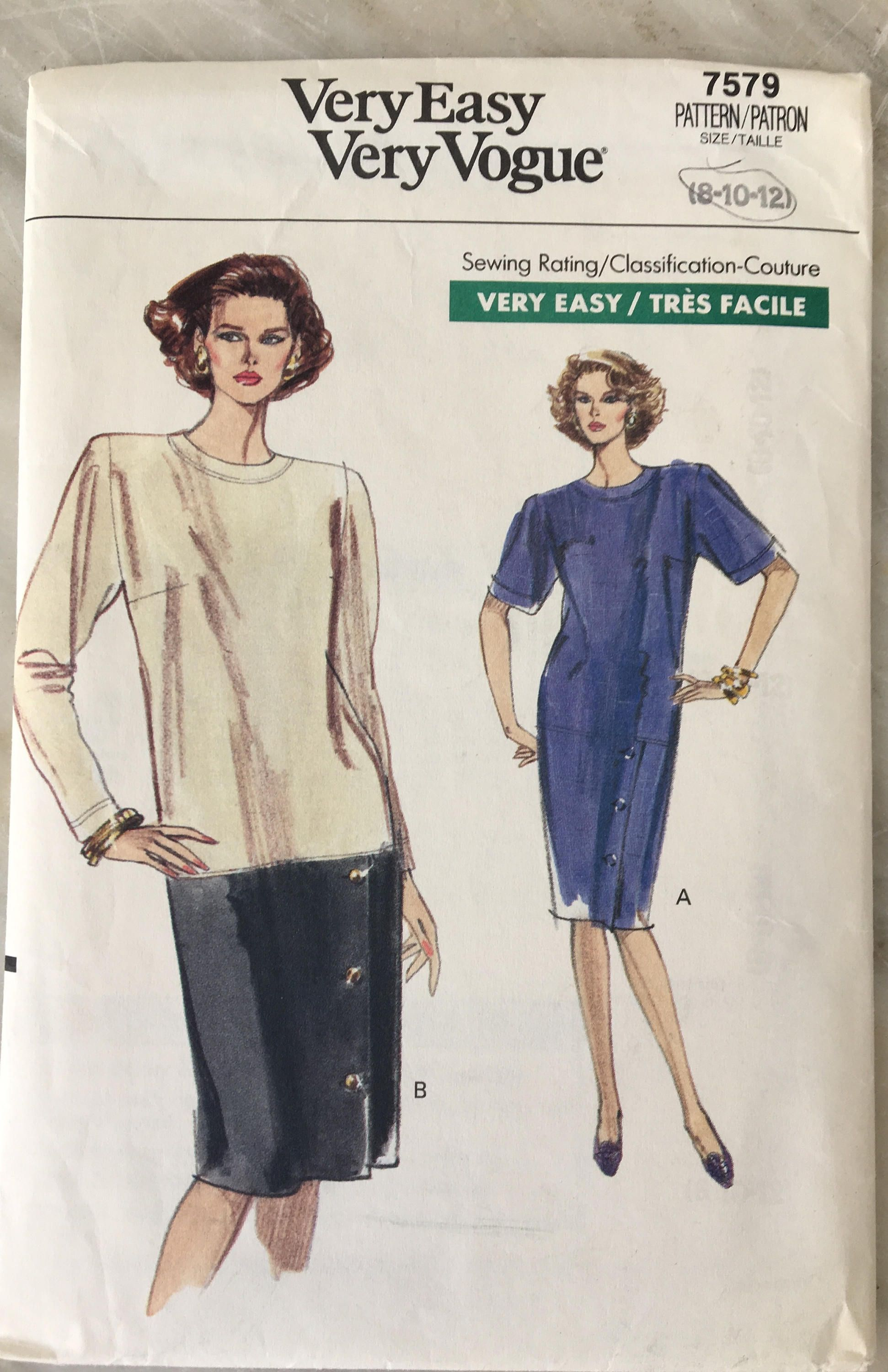 Vintage Vogue 7579 Pattern Misses Half Size Dress Size 8 10 12