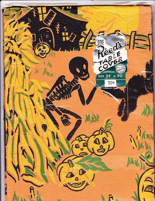 Vintage Reeds unused Halloween paper tablecloth depicting scary - halloween decorations vintage
