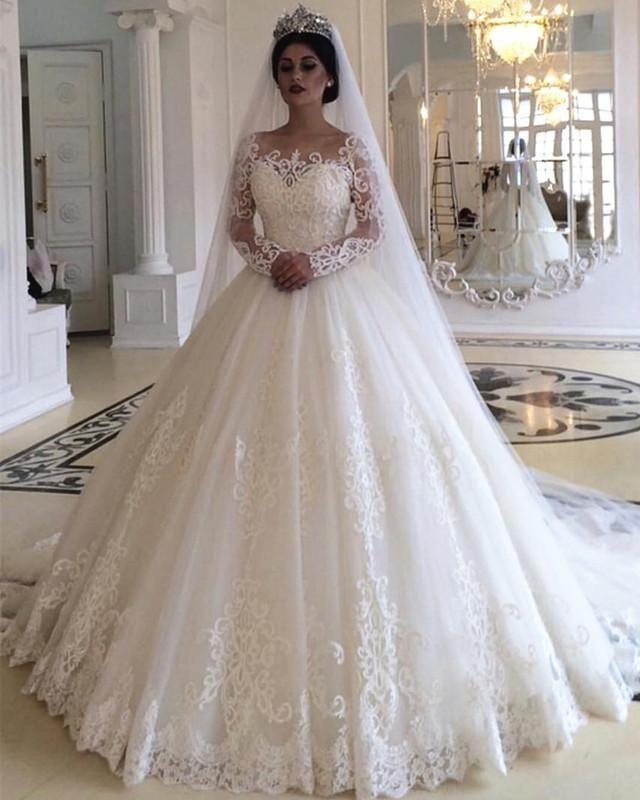 El Estilo De La Princesa De Manga Larga De Encaje De La Boda Vestidos De Vestidos Long Sleeve Wedding Dress Lace Wedding Dress Train Ball Gown Wedding Dress