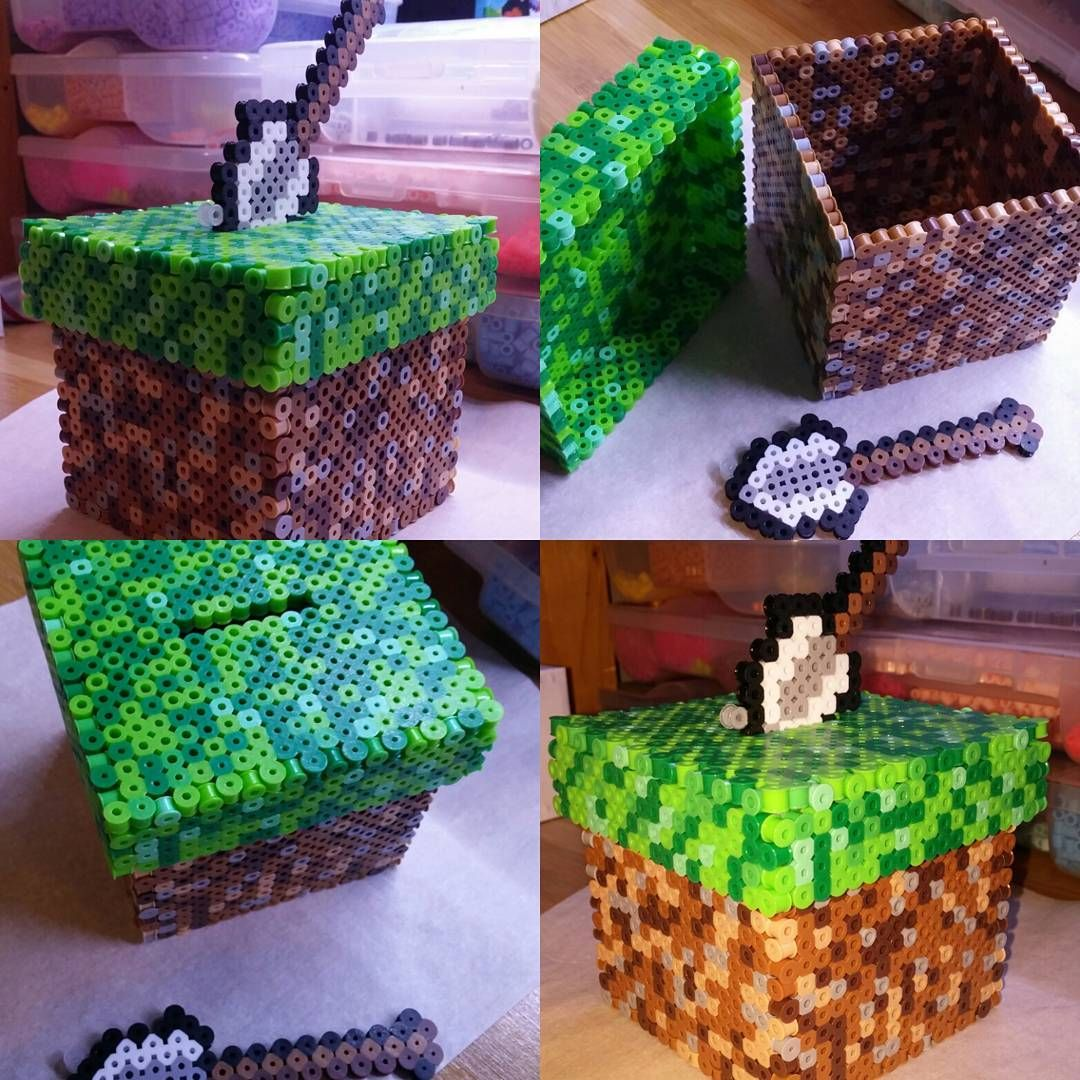 minecraft coin bank perler beads by zombemunky [ 1080 x 1080 Pixel ]