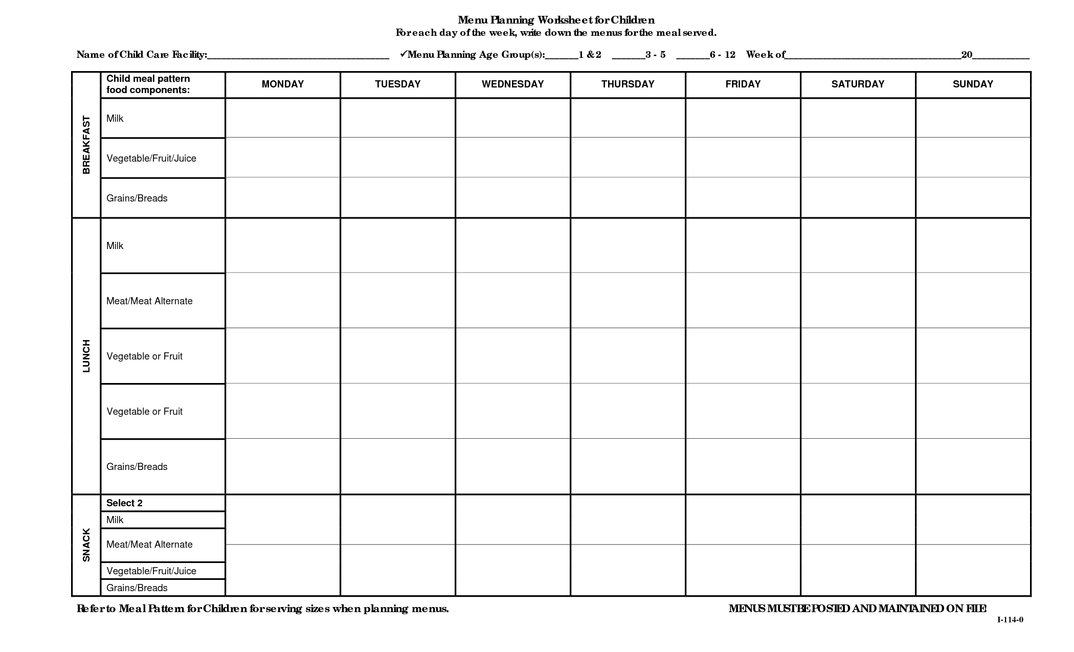 Menu Planning Worksheet