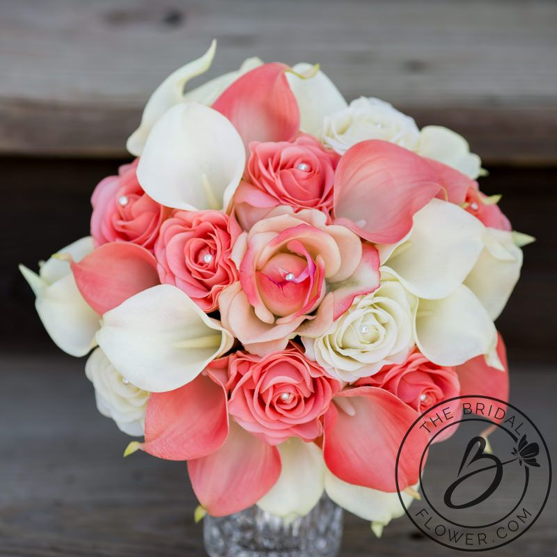 coral and ivory bouquet, artificial flowers, calla lilies in coral ...