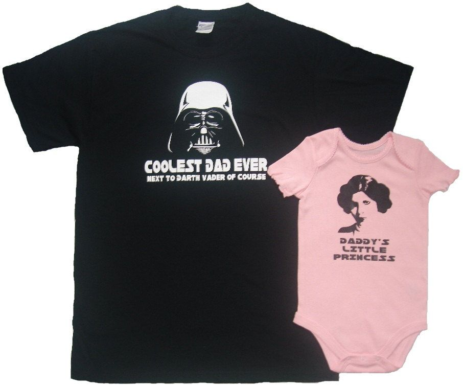 7fbfaf3e4 Darth Vader Coolest Dad Ever and Princess Leia Father T-Shirt Daughter  Bodysuit Matching Set First Father's Day Funny Baby Shower Gift Idea.