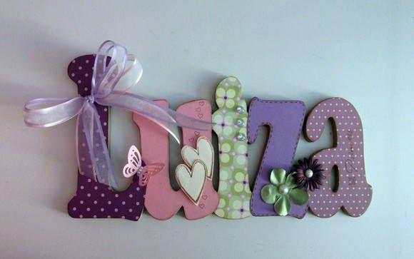 Nome em mdf e scrap luiza nomes em mdf decorar quartos - Letras para decorar habitacion infantil ...
